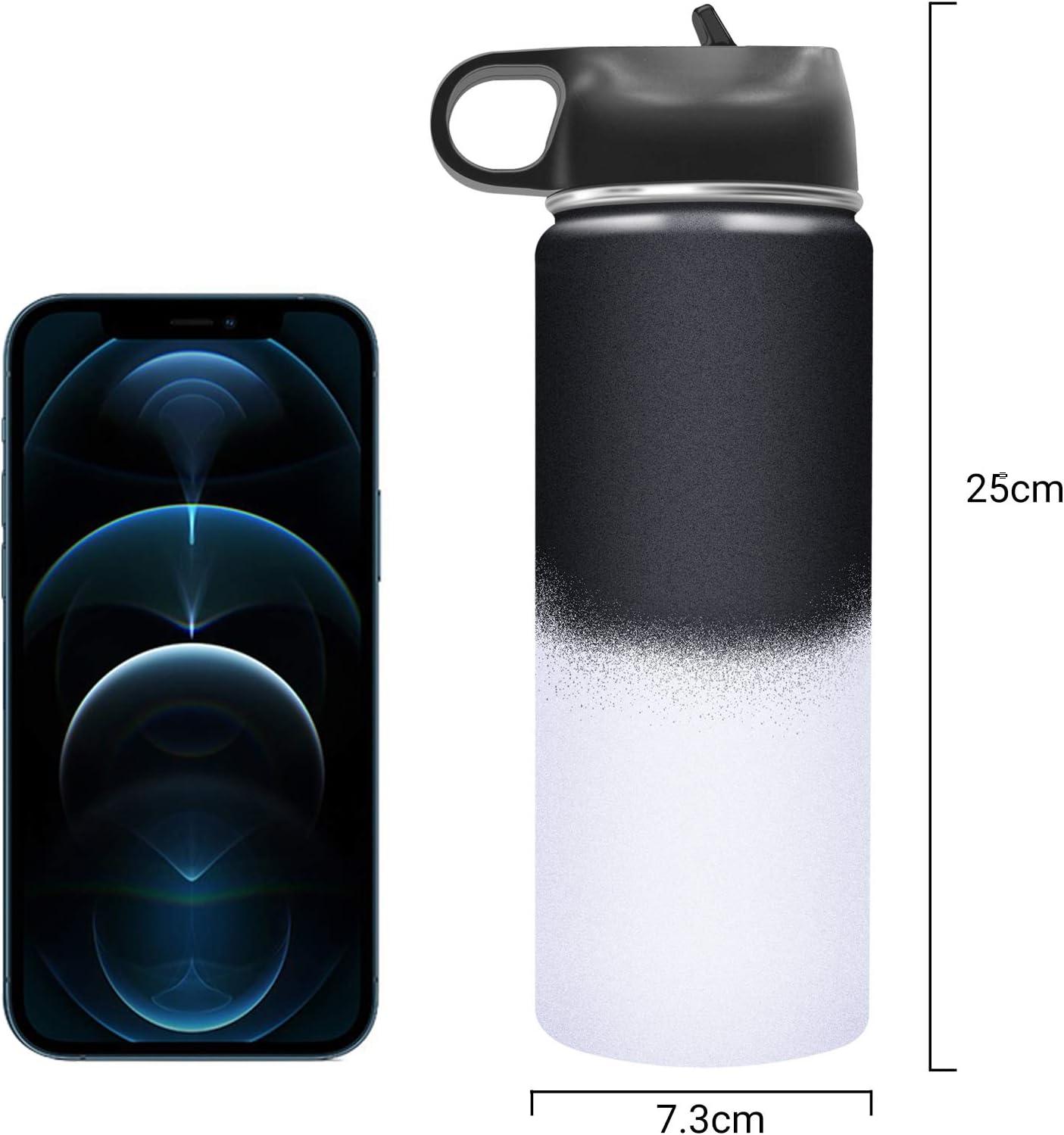 BICASLOVE Botella de Agua Acero Inoxidable 18oz/532ml,Aislamiento de Vacío de Doble Pared,Reutilizable,para ...