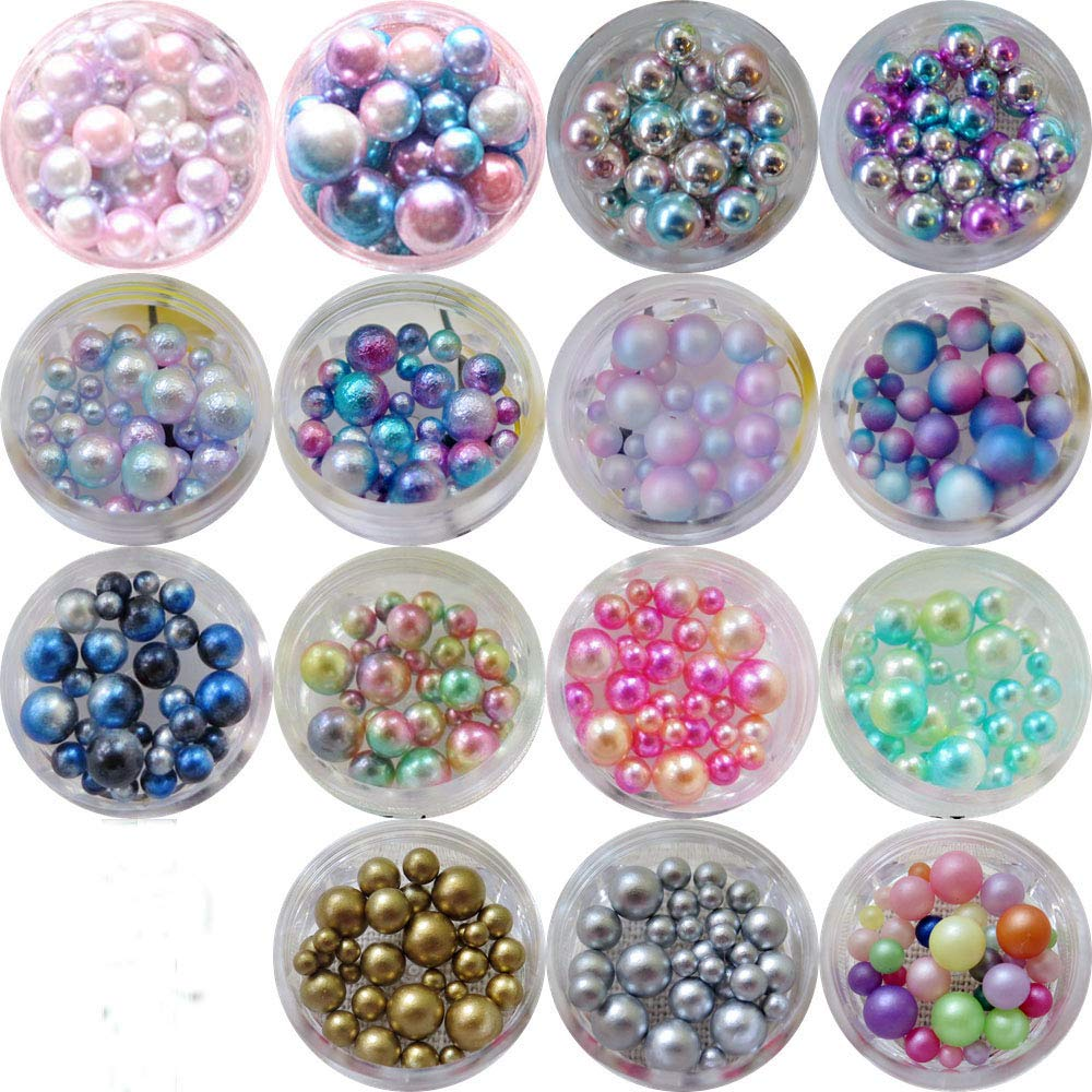 15jars/set Nail Art Plastic Pearl in Jars Different Size Mix Mermaid Color Ball Pearl 10020 by Nail Angel