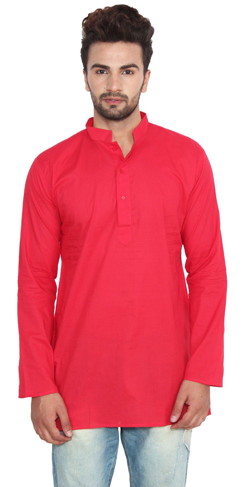 Cotton Dress Mens Short Kurta Shirt India Fashion Clothes (Red, M)