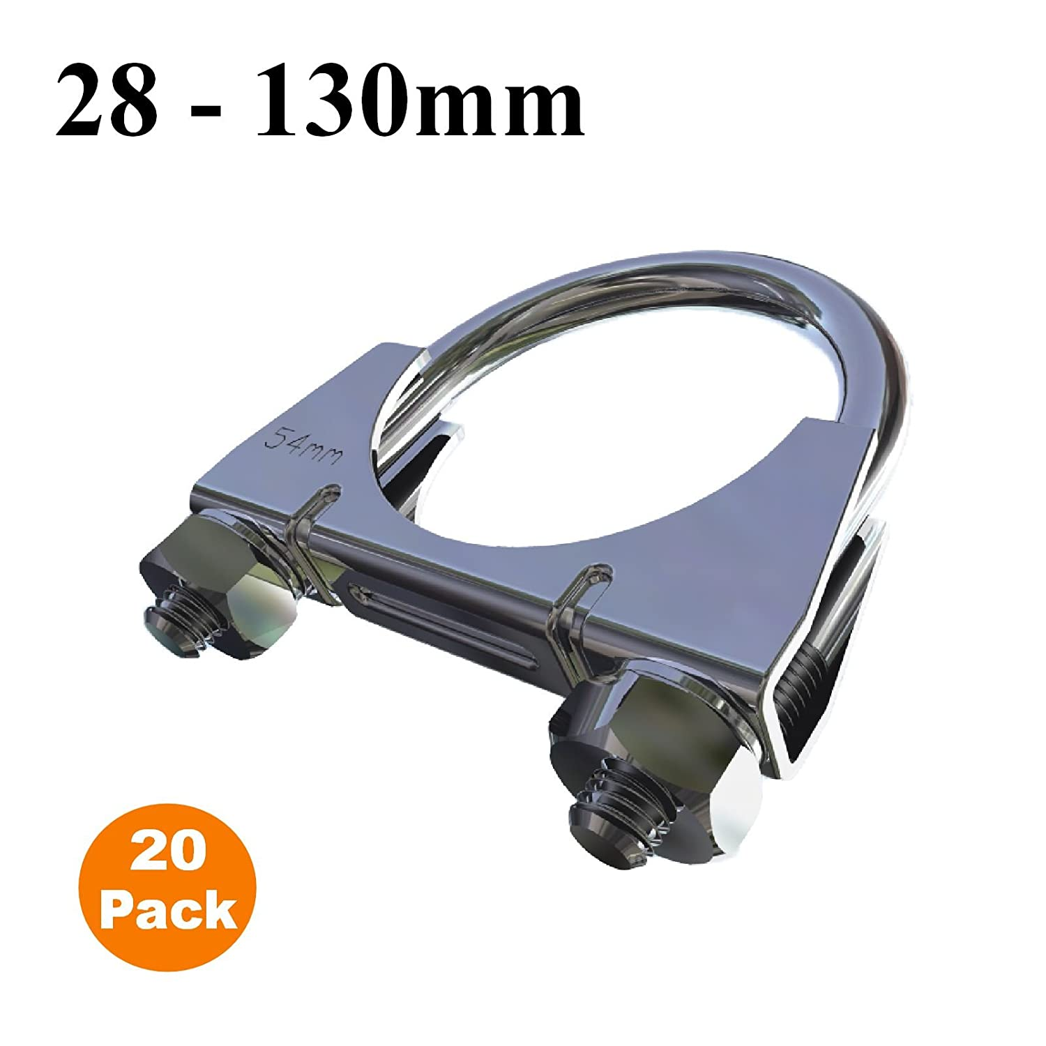 20 x Universal U Bolt Clamps//Heavy Duty Exhaust Clamp//TV Sky Aerial Pipe 54mm
