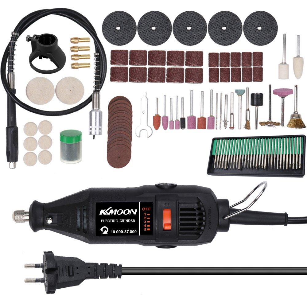 KKmoon 180W Conjunto de herramientas de molienda elé ctrica portá til Mini portá til de rotativas Má quina de lijado de pulido Bits Engrave Kit de herramientas con accesorios DIY Kits 220V