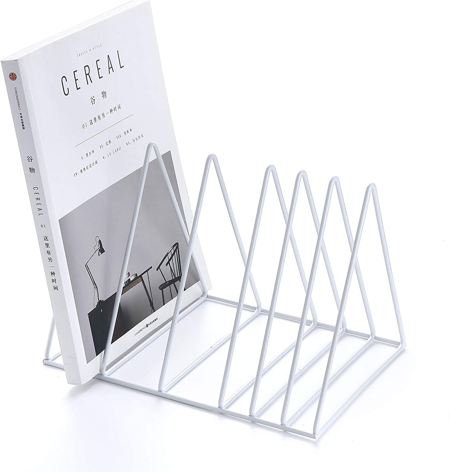 Keador File Holder Stand, Magazine Rack Book Record Holder, File Organizer Magazine Rack, Metal Desktop Book Shelf Book Stand, Triangle Iron Book Rack for Office Home Decor (Upgraded, White)