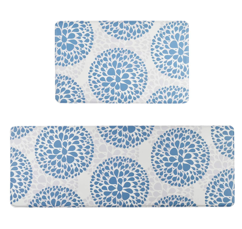 Homcomoda 2Piece Kitchen Mats and Rugs Sets Floor Mat Comfort PVC Leather Heavy Duty Cushioned Standing Mats Waterproof Non Slip Runner Rugs Indoor Outdoor(17.3''×27.5'' & 17.3''×47.2'')