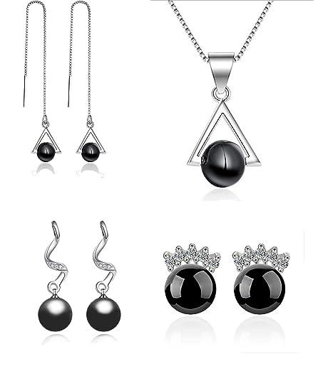 21beddf58089 Juego de Joyas - colgante de collar y conjunto de 3 pendientes de ...