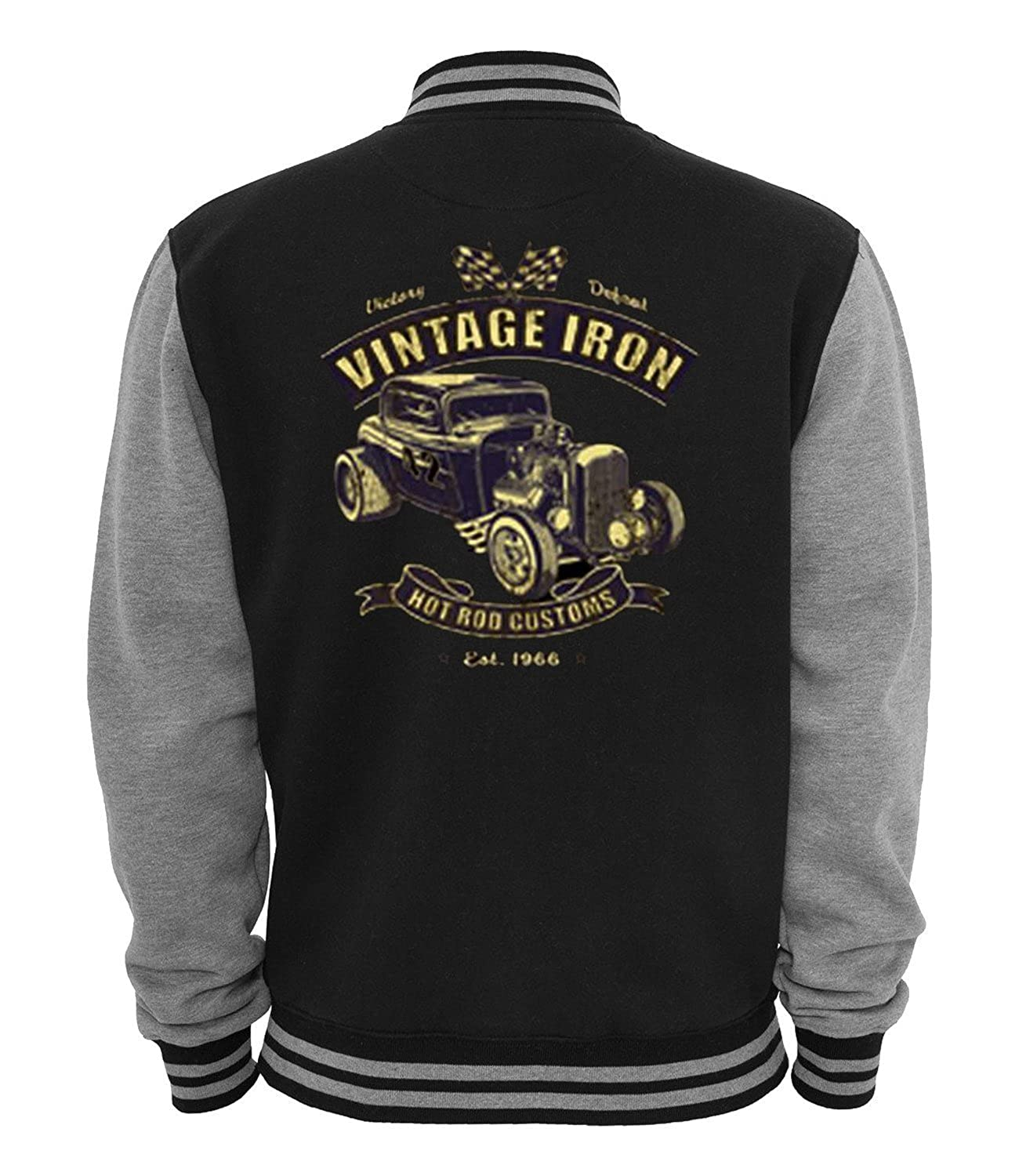 Men's Vintage Style Coats and Jackets Vintage Iron - Mens Hot Rod Varsity Jacket Old School Rockabilly Retro Style $36.50 AT vintagedancer.com