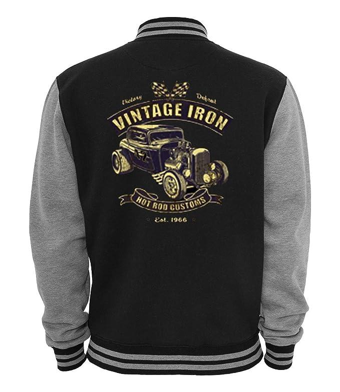 Men's Vintage Style Coats and Jackets Ethno Designs - Vintage Iron - Mens Hot Rod Varsity Jacket Old School Rockabilly Retro Style  AT vintagedancer.com
