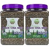 Wunder Basket Organic Black Chia Seeds, 2 LB Jar, w/Scoop (Pack of 2)