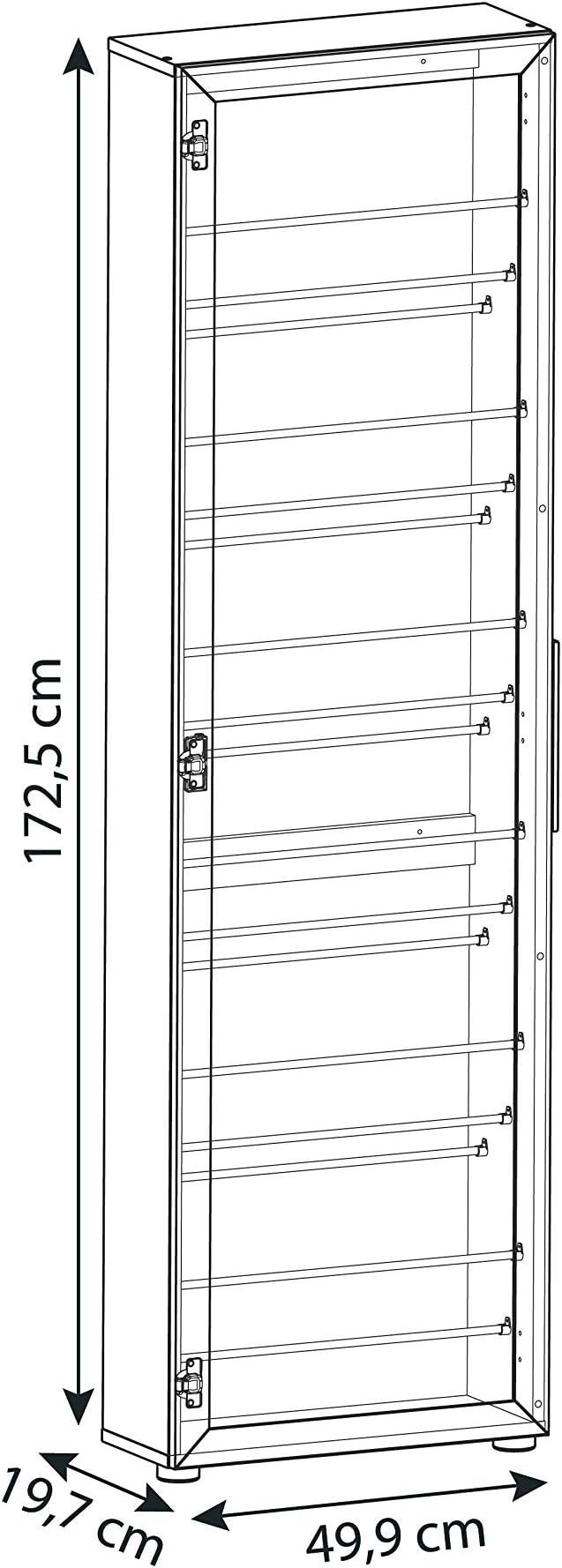 49.9x19.7x172.5 cm Rovere Nobilitato//Specchio 13Casa Cinderella S01 Scarpiera con Specchio