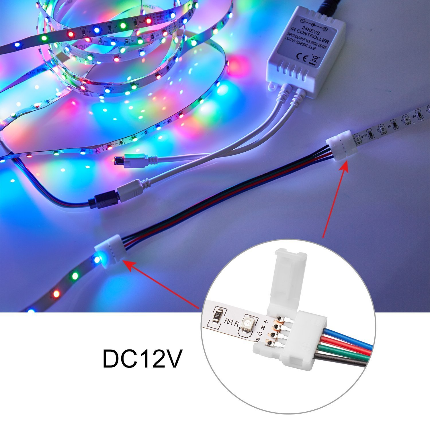 5050 4 Pin Rgb Led Strip Light Connector Kit With 10mm Quick Adapter Wiring Multi Color 5050smd Pbc Connectors 2 Way Splitter Cablergb Extension Cable