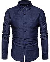 SIR7 Men's Casual Long Sleeve Lightweight Denim Shirt 100% Cotton Button Down Dress Shirts