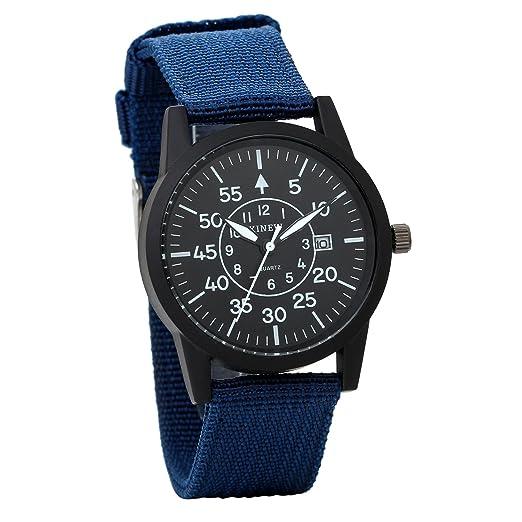 JewelryWe Relojes Hombre Caballero, Correa De Nylon Cuarzo, Unisex Reloj Sencillo, Estilo Casual Original, Color Azul, Buen Regalo Para Hombre Chico: ...