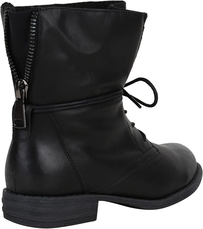 Stiefelparadies, scarpe da donna, stivaletti con lacci camouflage, stivaletti in similpelle, tacco a blocco, Flandell® Nero Arriate