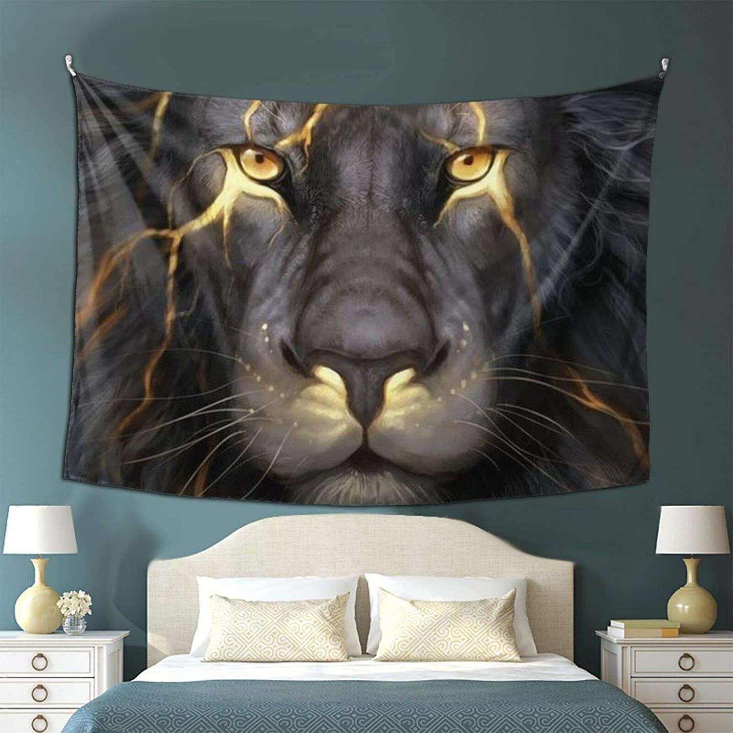 QSMX Tapestry, Bohemian Style Golden Cool Lion King Paninting Wall Hanging Tapestries Curtain, Indian Art Print Mural Tablecloth for Bedroom Living Room Dorm Home D¨¦cor 50x60 Inches