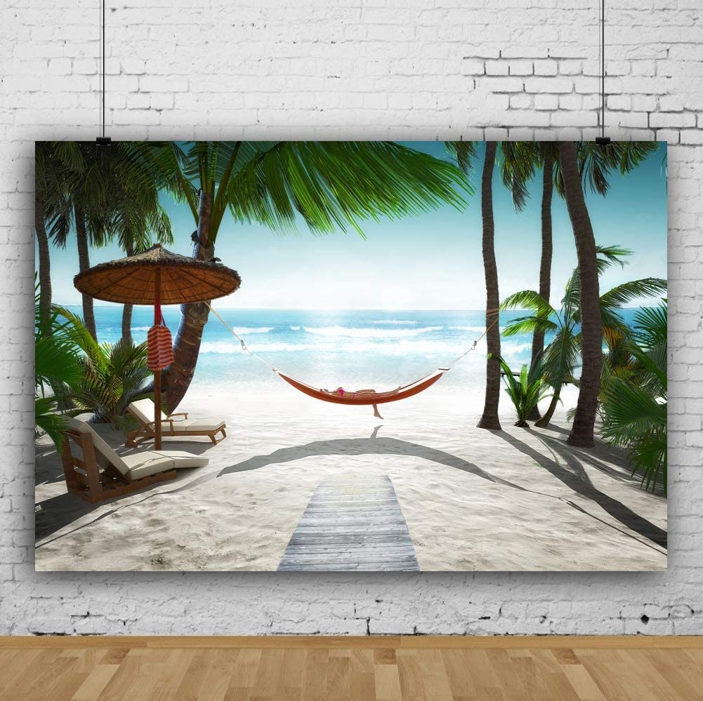 Vinyl 8x6.5ft Tropical Beach Relaxing Summer Holiday Backdrop Green Palm Trees Beach Chair Seaside Vacation Photography Backgroud Coastal Travel Hawaii Luau Party Banner
