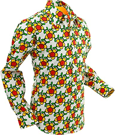 Chenaski 70/'s Flowergrid Psychedelic Retro Party Shirt