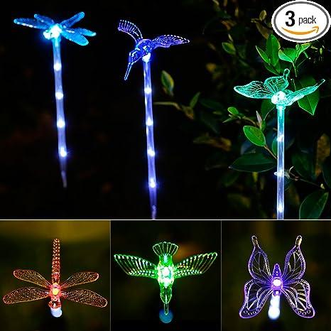 Gentil Garden Lights, 3 Pack Garden Solar Lights Outdoor Multi Color Changing LED  Hummingbird,