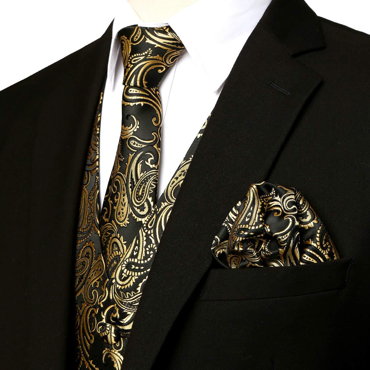 ZEROYAA Men's 3pc Paisley Jacquard Vest Set Necktie Pocket Square Set for Suit or Tuxedo ZLSV14 Gold Black Large by ZEROYAA
