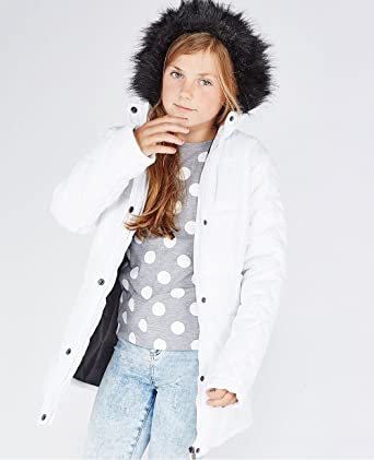 ee823e831 Wolf Pax Girls White Black Fur Trim Parka Jacket Outdoor Winter Coat ...