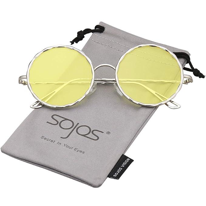 769fec97db SOJOS Gafas De Sol Para Mujer Marco Redondo Metal Trenzado SJ1090 Con Marco  Plateado/Lente Amarillo: Amazon.es: Ropa y accesorios