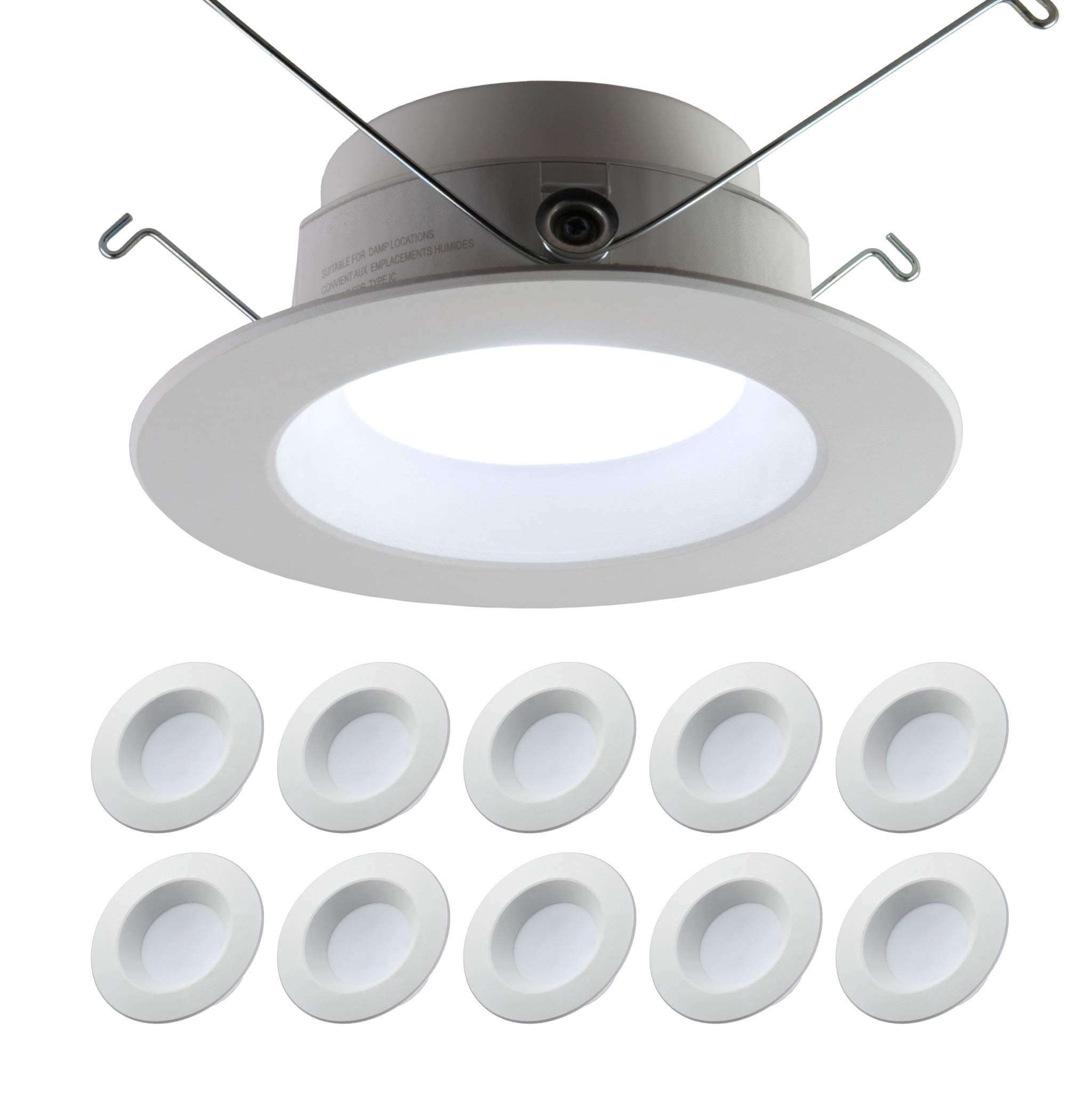 5/6'' inch Dimmable LED Downlight (10 PACK) 15W= 120W Replacement; 1100 Lumens; 120V; CRI>90; JA-8 Compliant, Energy Star, UL Listed; Easy Install Into Exisiting 5/6'' Recessed Can (Daylight 5000K) by Quest LED