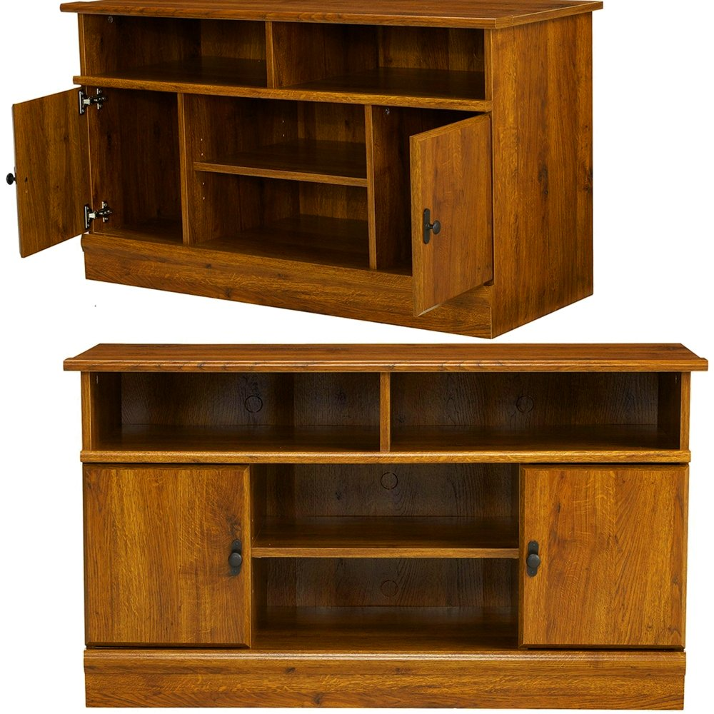 EFD Multi Media TV Stand with Adjustable Shelves and Side Cabinets 42 Inch Large Wooden Low Modern Traditional Minimal Low Profile Flat Screen Tv Stand Media Storage Cabinet eBook by Easy&FunDeals by EFD