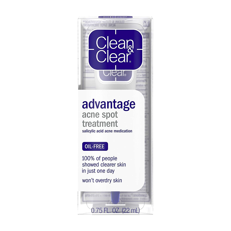 Amazon Com Clean Clear Advantage Acne Spot Treatment Oil Free Acne Treatment With Salicylic Acid Witch Hazel And Bha Gel Pimple Cream For Adults And Teens Witch Hazel Salicylic Acid