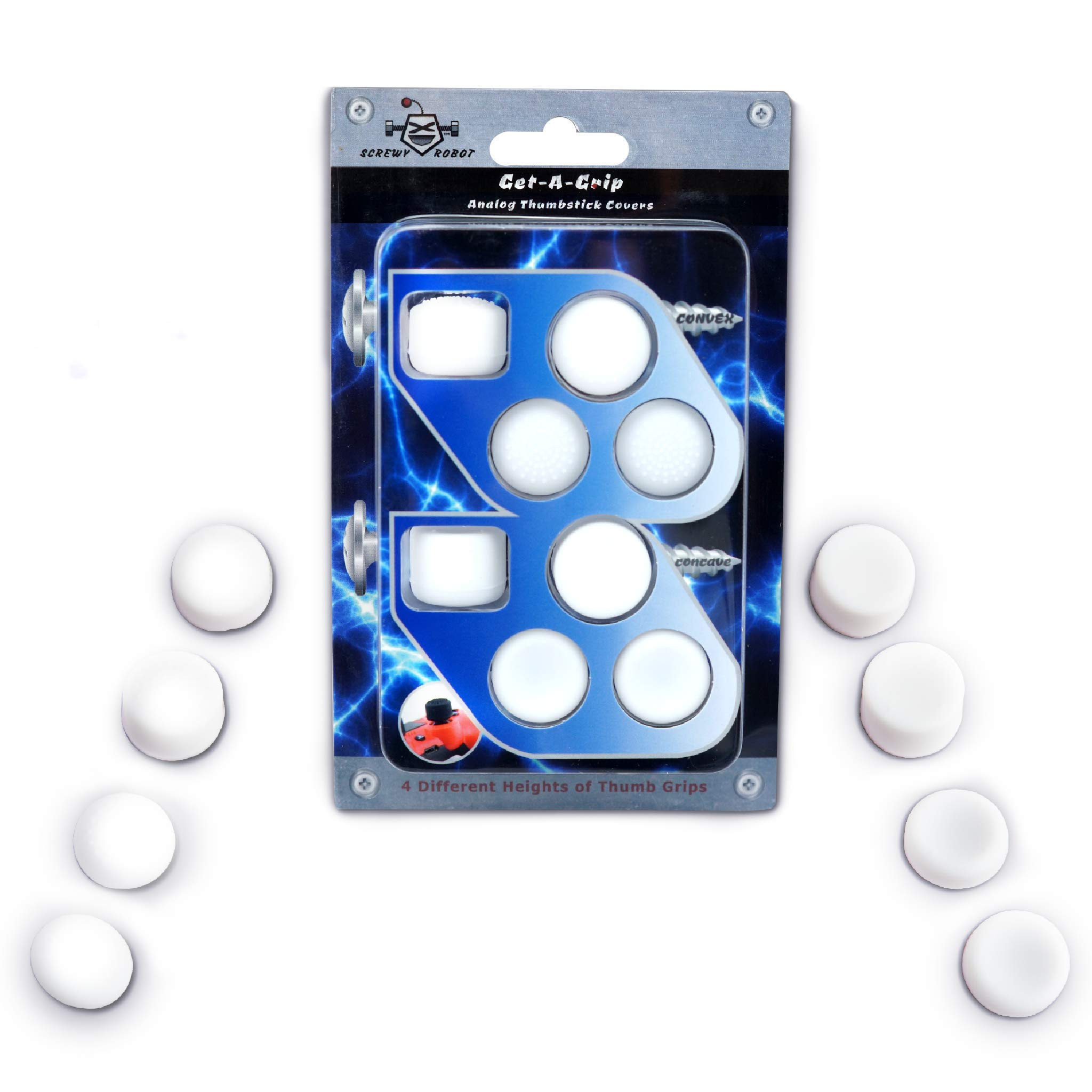 Get-A-Grip Analog Thumbstick Grip Covers for PS4/PS3 by ScrewyRobot (White) by ScrewyRobot