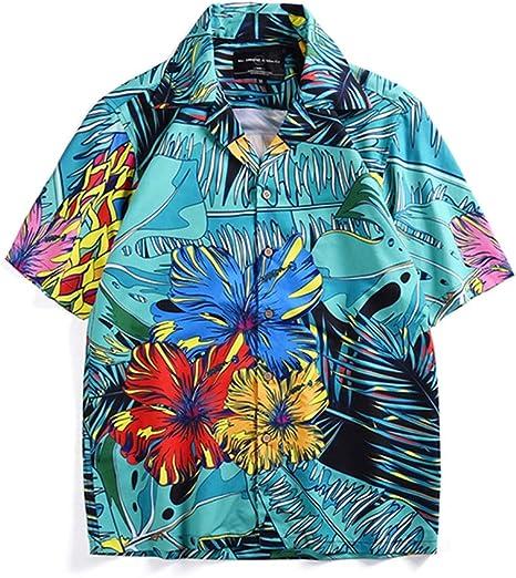 ALMRKS Camisa de Vacaciones en la Playa con Deportes al Aire Libre, Camiseta de Isla, Estampado de Plantas Tropicales, Manga Corta: Amazon.es: Deportes y aire libre