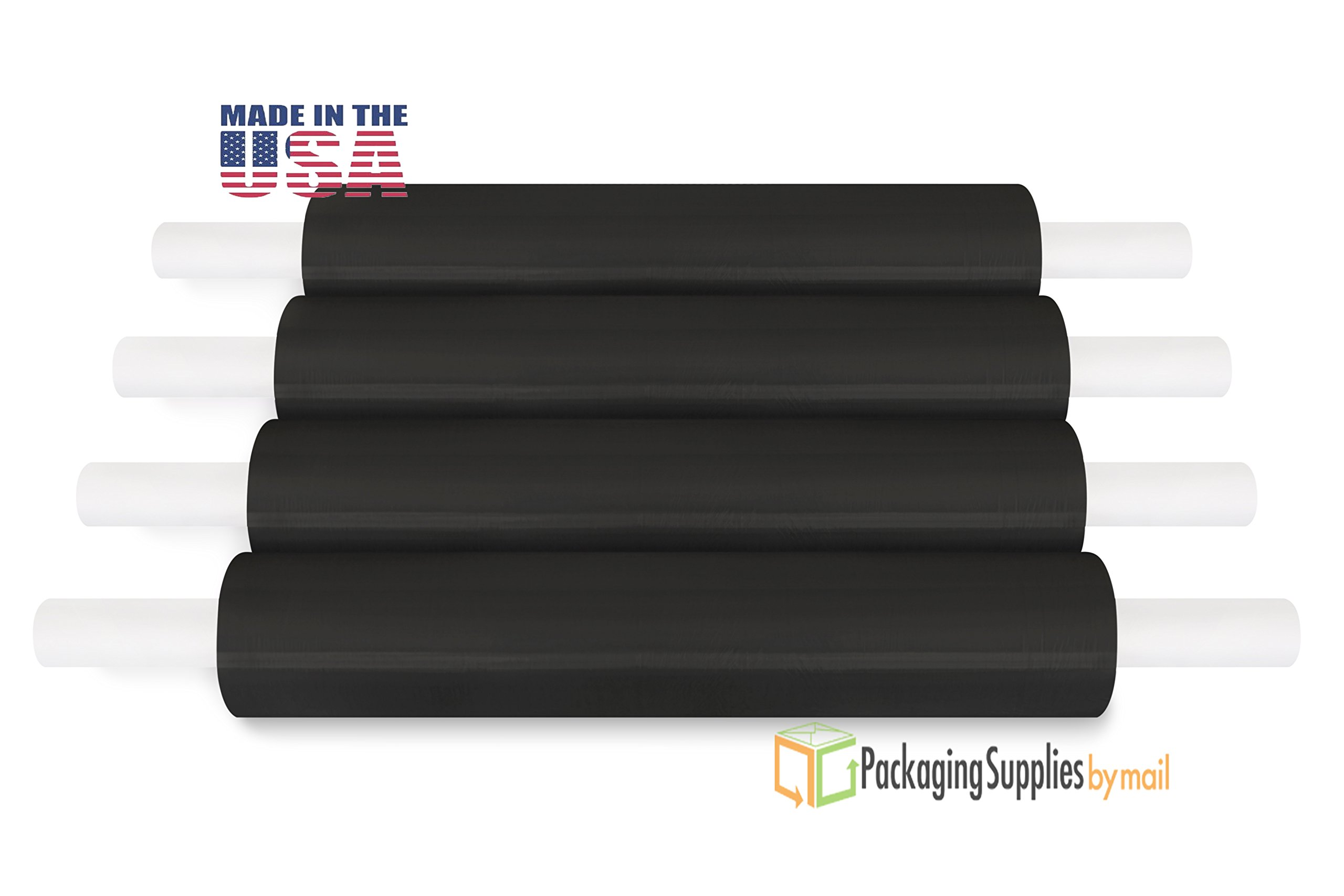 20 inch Black Color Stretch Film Pipe Wrap with Preattached Handles 1000 Feet