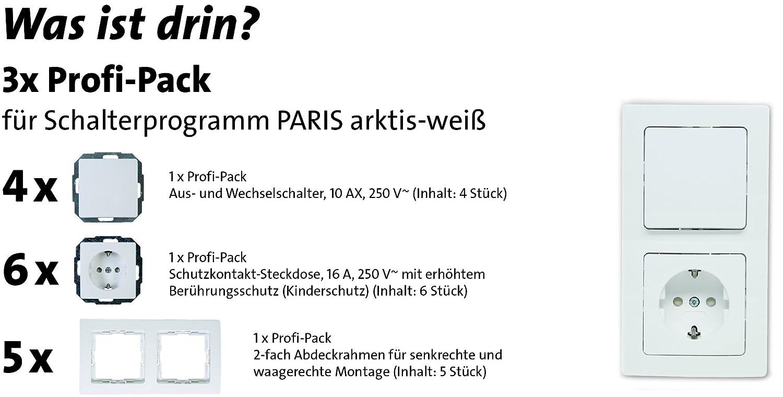 Profi-Pack Paris Steckdosen und Aus-/Wechselschalter im Set mit ...