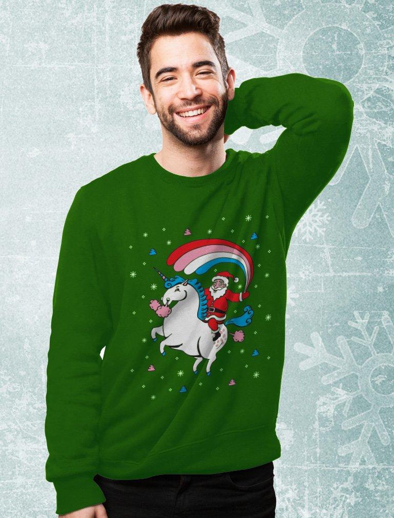 TeeStars - Santa Riding Unicorn Rainbow Ugly Christmas Sweater Sweatshirt 5