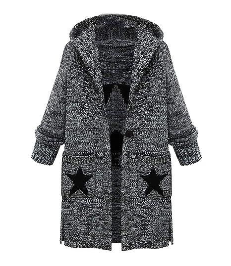 Jianlanptt Womens Fashion Long Hooded Cardigan Sweater Coat With