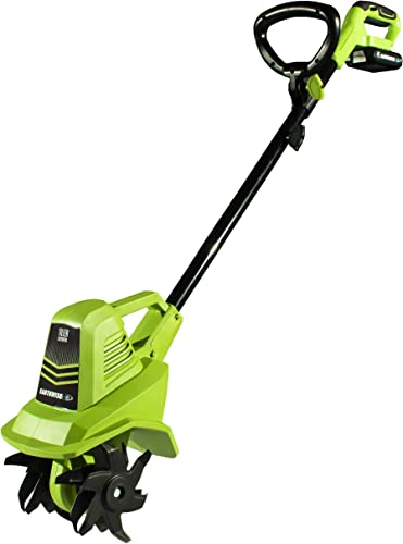 Earthwise TC70020 20-Volt 7.5-Inch Cordless Electric Tiller Cultivator, 2AH Battery Fast Charger Included