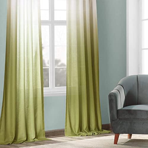 HPD Half Price Drapes FELCH-OMB1704-108 Faux Linen Sheer Curtain 1 Panel