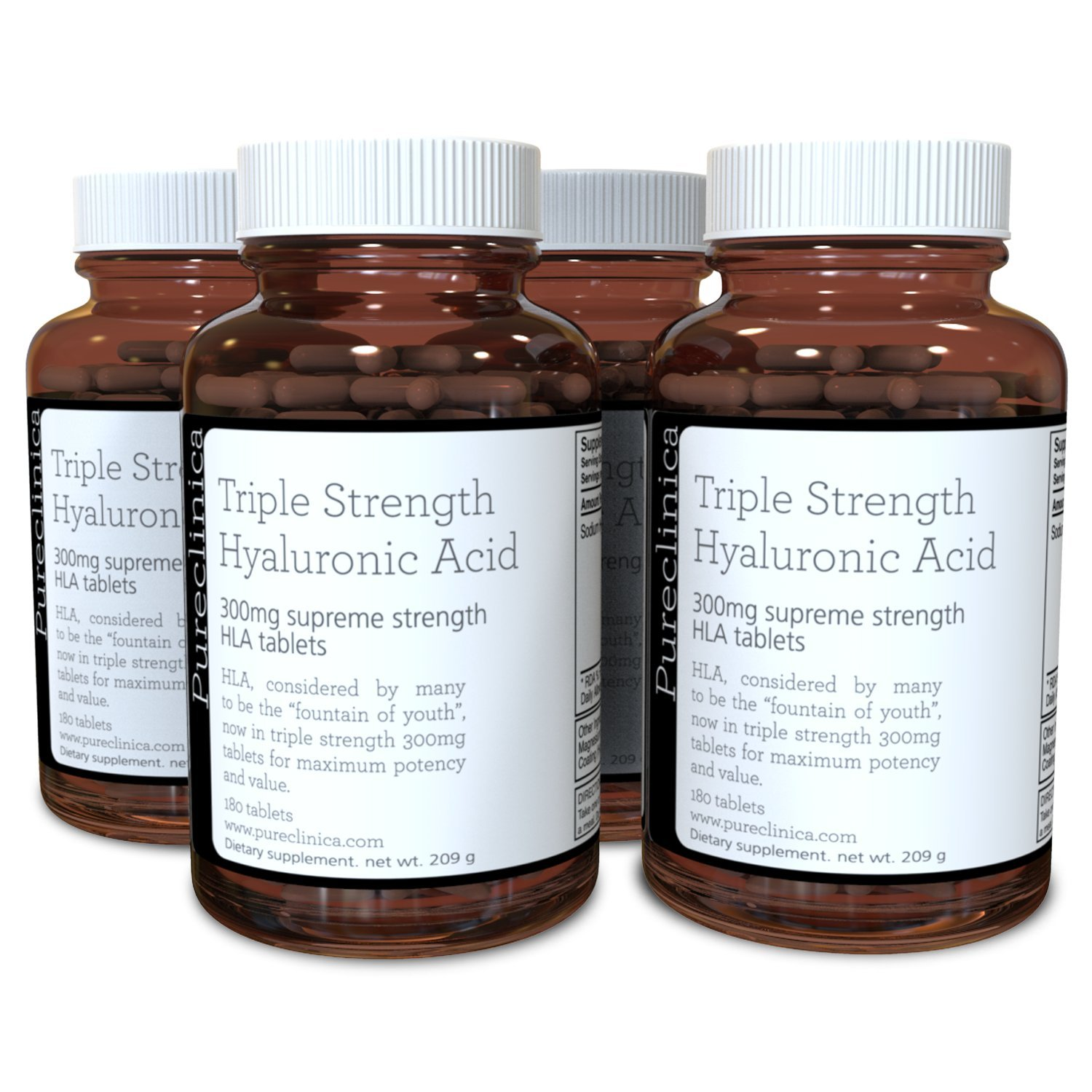Triple Strength Hyaluronic Acid 300mg x 720 Tablets (4 Bottles with 180 Tablets in Each - 12 Months Supply). 300% Stronger Than Any Other HLA Tablet. SKU: HLA3x4
