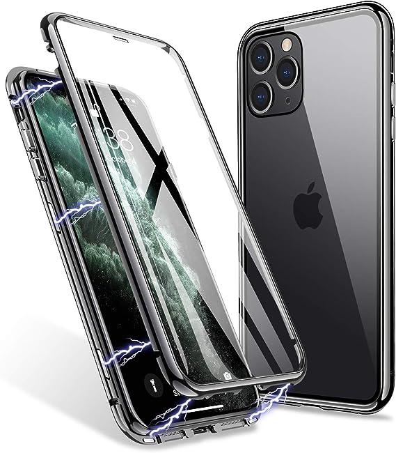 Coque pour iPhone 11 Pro 5.8'' Magnétique Adsorption Antichoc 360 degrés Protection intégrale écran Double Verre TrempéE1390