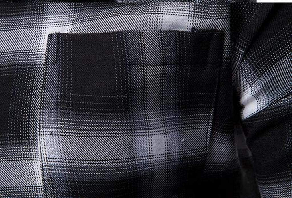 Fubotevic Mens Slim Fall Winter Plaid Print Long Sleeve Button Down Dress Shirts