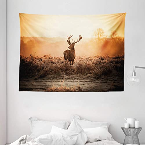 Ambesonne Hunting Tapestry, Red Deer in The Morning Sun Wilderness Nature Scenery Countryside Rural Heathers, Wide Wall Hanging for Bedroom Living Room Dorm, 80 X 60 , Orange Brown