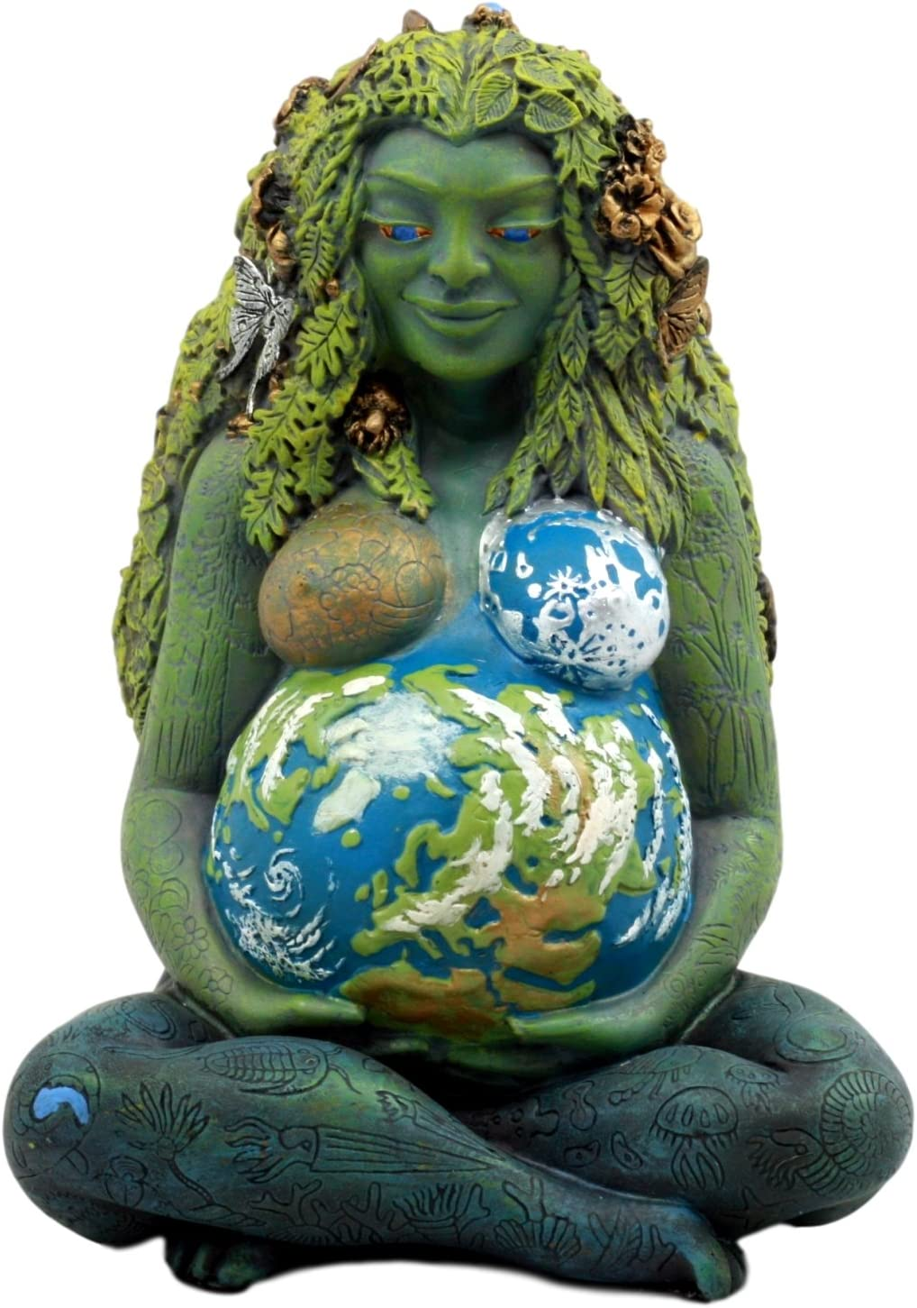"""Ebros Gift Millennial Gaia Earth Mother Goddess Te Fiti Statue 7"""" Tall by Oberon Zell (Earth Green)"""