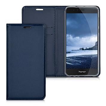kwmobile Funda para Huawei Honor 8 / Honor 8 Premium - Carcasa para móvil de [Cuero sintético] - Case [Plegable] en [Azul Oscuro]