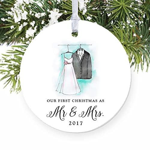 Amazon.com: Our First Christmas as Mr & Mrs Ornament 2017, Wedding ...