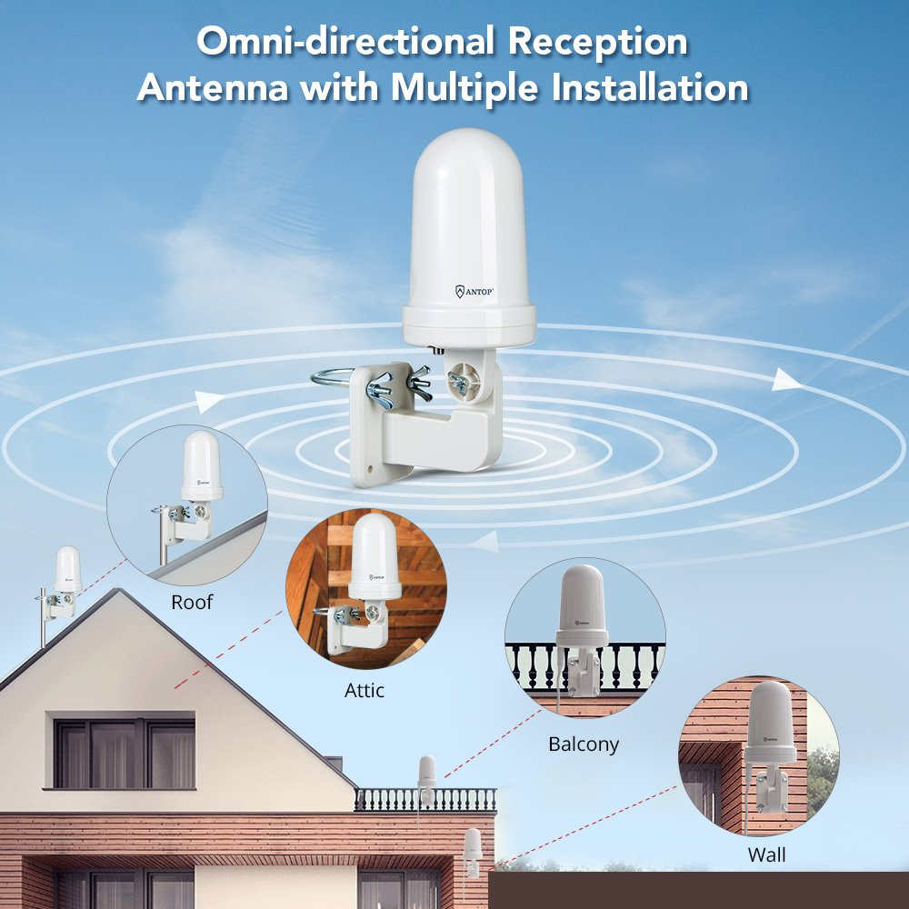 ANTOP Outdoor/Attic TV Antenna Omni-directional Complete 360° Reception,Exclusive Smartpass Amplifier Delivers the Correct Range, Durable Exterior & Weather Resistant Fit Outdoor/RV/Attic by ANTOP (Image #2)