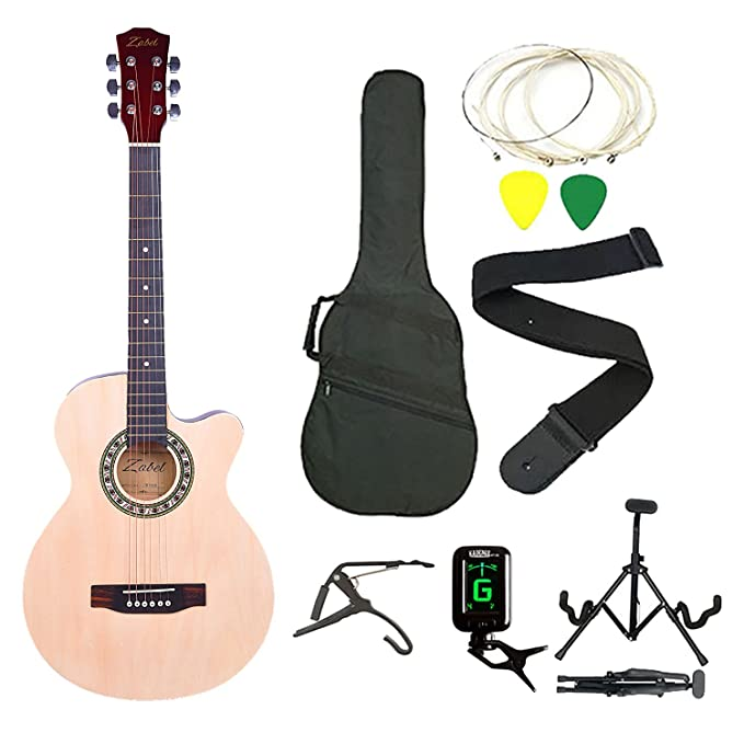 Zabel Elletra Series Acoustic Guitar with Truss Rod, Right Handed, Natural, Super Combo with Bag, 1 pack Strings, Strap, Picks, Capo, Tuner and Foldable Guitar Stand Acoustic Guitar Kits at amazon