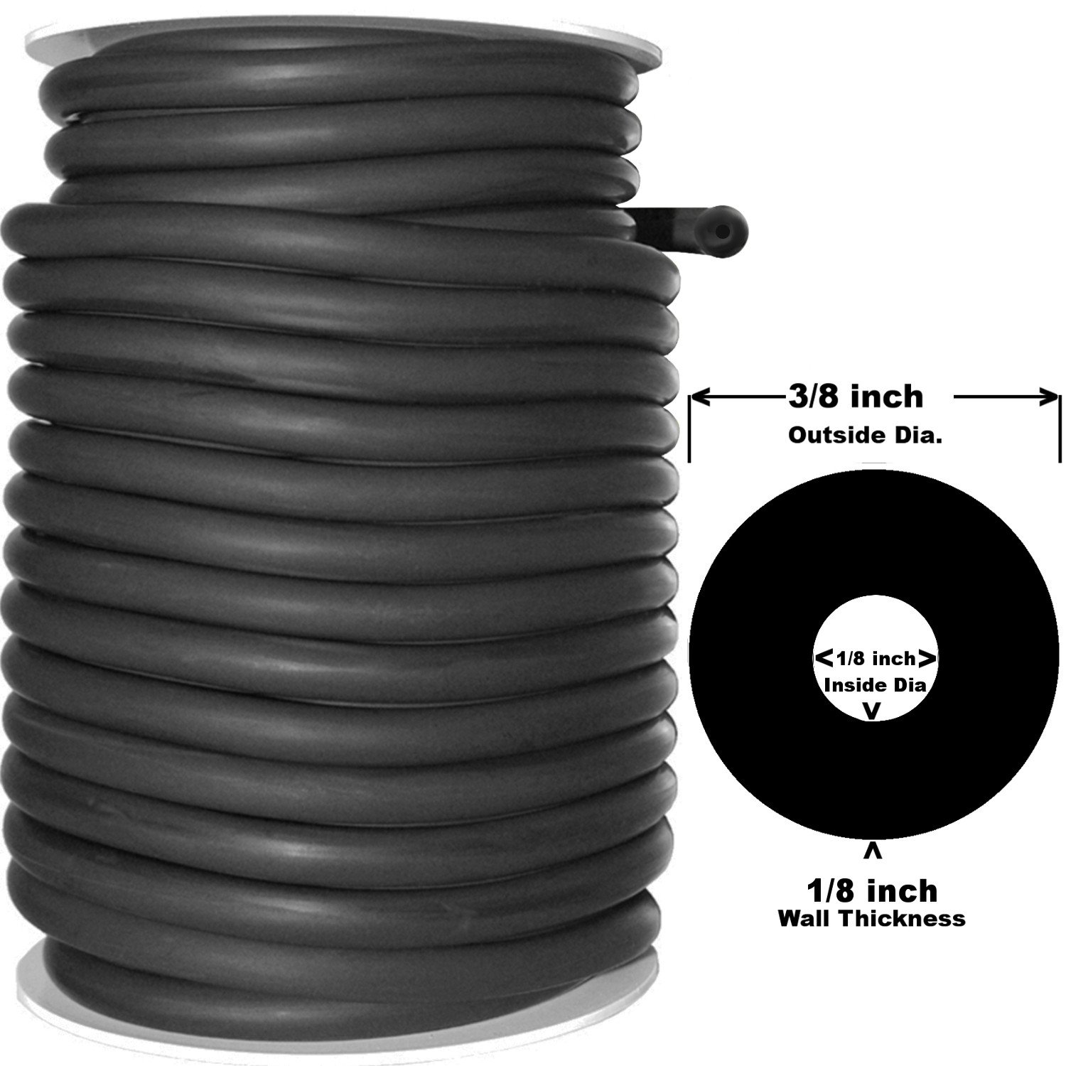 50 Feet Black Rubber Latex Thick Walled Tubing (Speargun Band Tubing) 3/8''OD 1/8''ID (408B) by Spearit