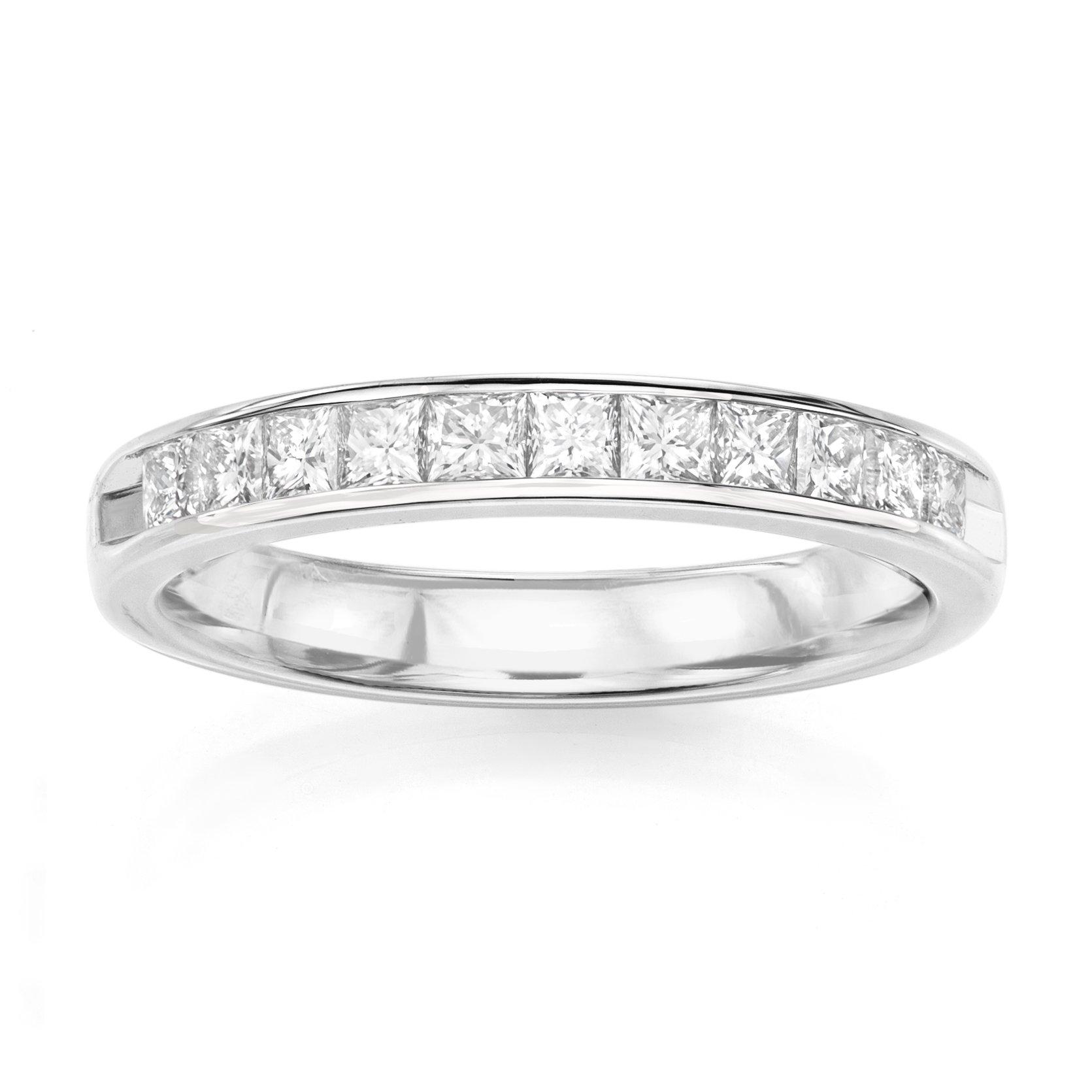 14KT White Gold 0.34ct G-I SI1/SI2 Channel Machine Set Wedding Ring