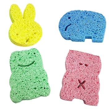 Amazon.com: Potelin - 4 esponjas de baño para bebé, cuerpo ...