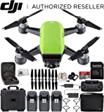 DJI Spark Portable Mini Drone Quadcopter Fly More Combo Water Proof Hard Case Bundle With Extra Battery (Meadow Green)