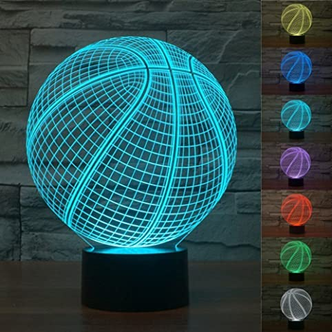 3D Illusion Desk Lamps, Surprise Gifts Multi Colored Change Basketball  Shape Smart Touch Switch