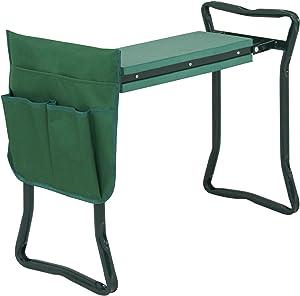 ZENY Folding Garden Kneeler Seat Portable Garden Bench Stool w/ Foam Kneeling Pad and Tools Pouch