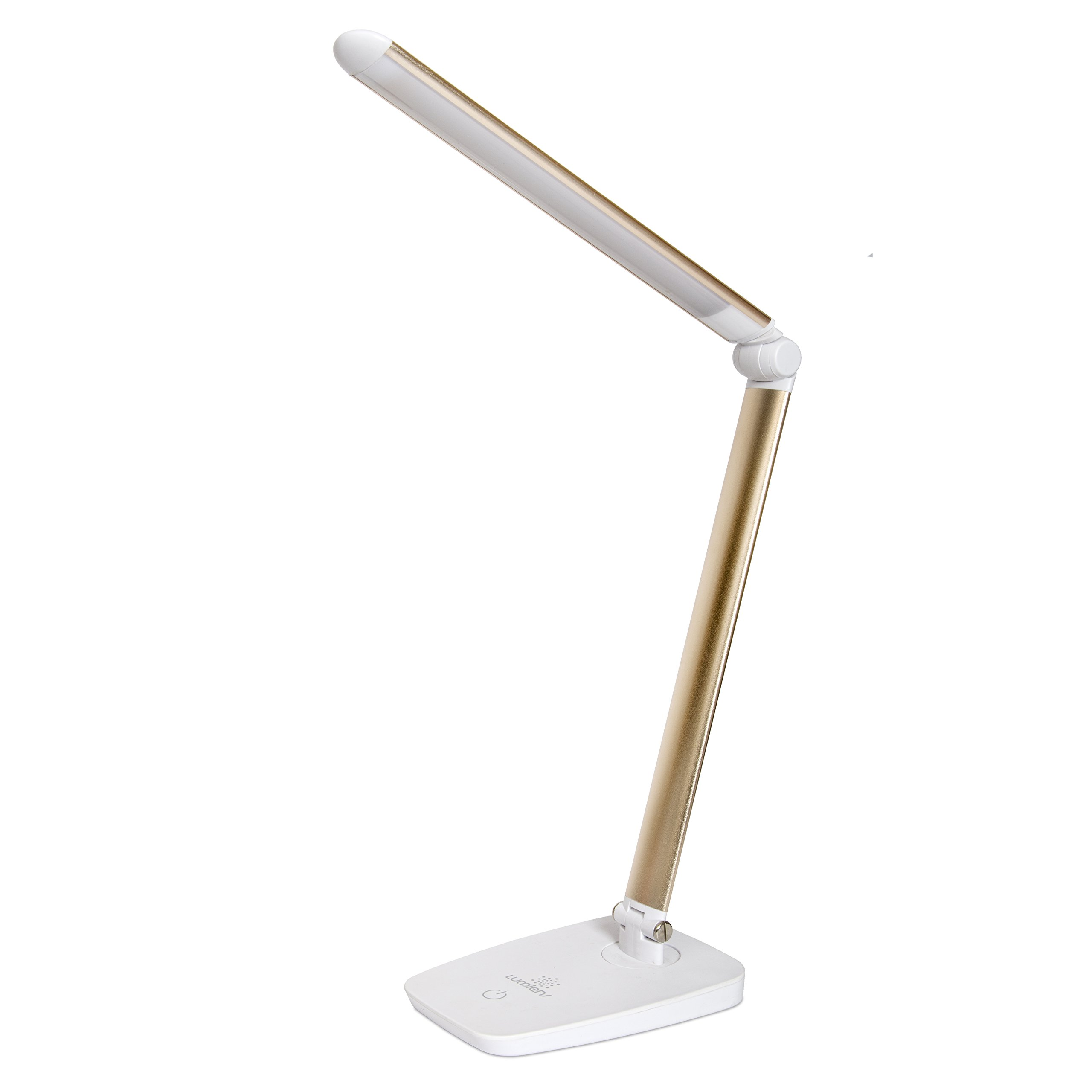 LUMIENS Greenwich - LED Desk Lamp - Adjustable Dimmable Task Table Light - Touch Switch with 3 Levels - Great for Book Reading, Work Table, Craft Table, Desk, Night Stand, Drawer, Office, Gold/White